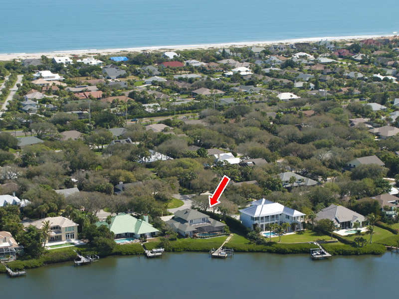 Castaway Cove Riverfront Home Aerial Island View