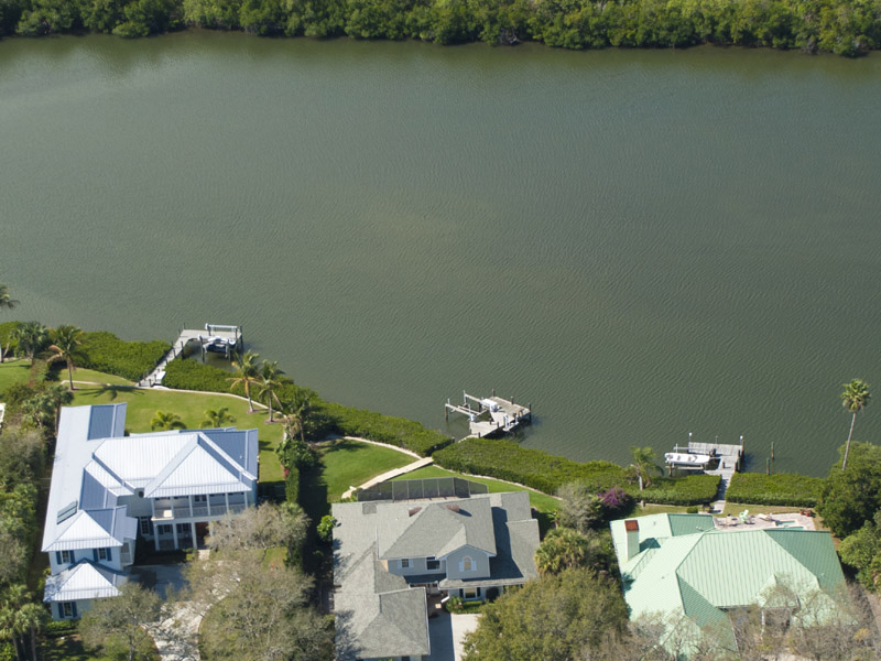 Castaway Cove Riverfront Home Aerial River View