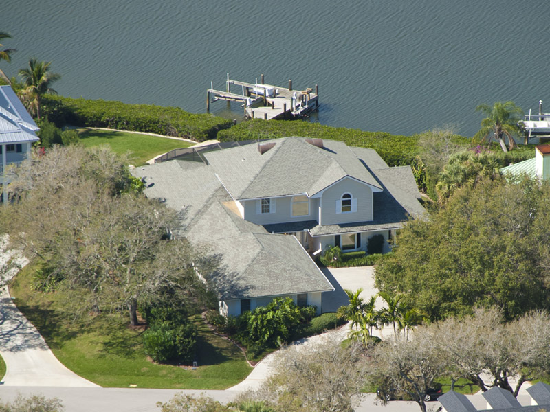 Castaway Cove Riverfront Home Aerial Barrier Island View
