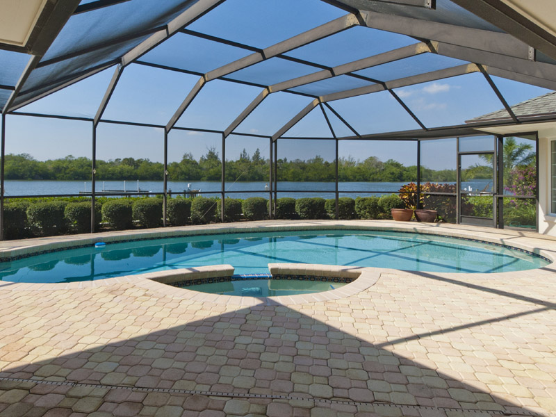 Pool & Patio of Riverfront Home in Castaway Cove