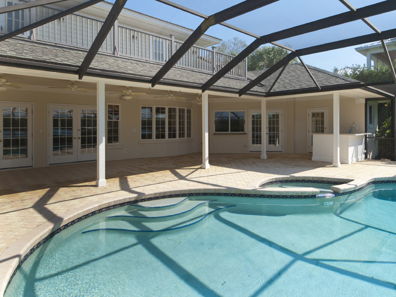 Covered outdoor patio of Riverfront Home in Castaway Cove